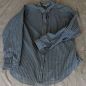 H&M blue and white striped collared shirt, sz 6